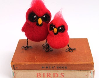 Scarlet Cardinal Bird Needle Felted Wild Bird Ornament