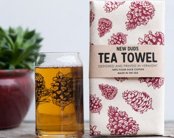 Pint Glass and Tea Towel Set Pinecone design