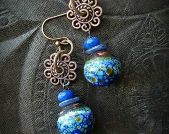 Enameled Beads, Charms, Kyanite, Jade, Dangle, Artisan Made, Earthy, Organic, Copper Beaded Earrings