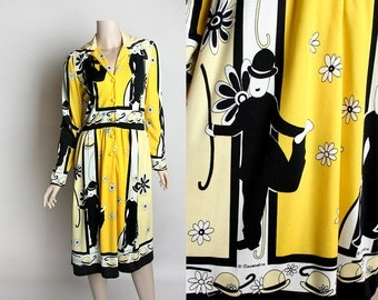 Vintage 1970s Dress - Charlie Chaplin Novelty Print 70s Dress - Bright Lemon Yellow Black and White 1920s Print - Medium