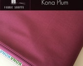 Kona cotton solid quilt fabric, Kona PLUM 1294, Purple fabric, Solid fabric yardage, Kaufman, Cotton fabric, Choose the cut
