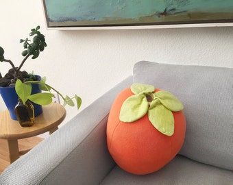 Hachiya Persimmon Pillow - Giant Fruit Cushion - Food Plush