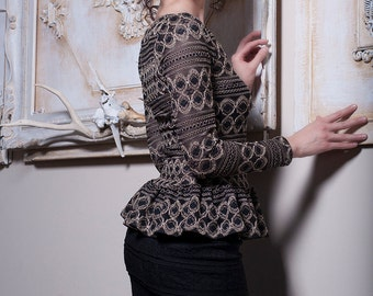 Black and Gold Lace Top with long Sleeves-Small (Sample Sale)