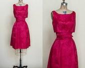 1960s Red Brocade Dress --- Vintage Holiday Cocktail Dress