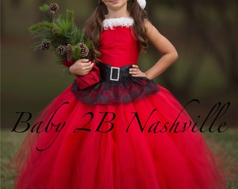 Santa Dress Christmas Dress Flower Girl Dress Red Dress Tulle Dress Lace Dress Wedding Dress Birthday Dress Toddler Tutu Dress Red Girls