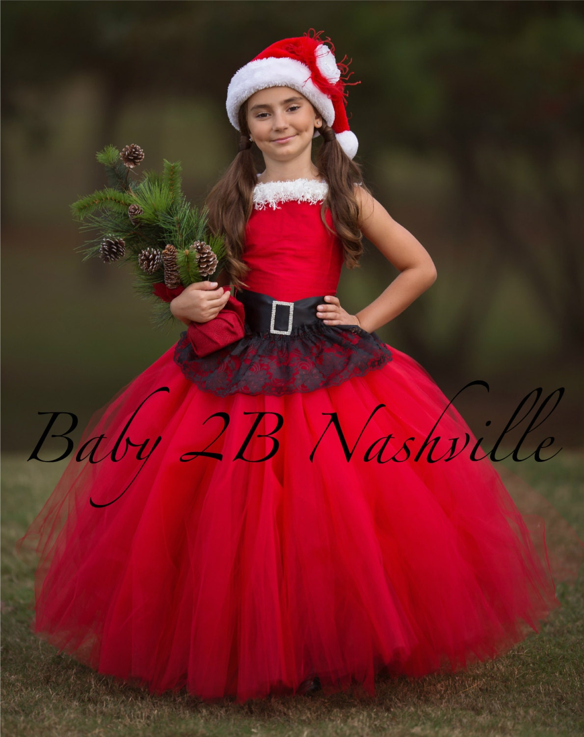 Santa Dress Christmas Dress Flower Girl Dress Red Dress Tulle ...