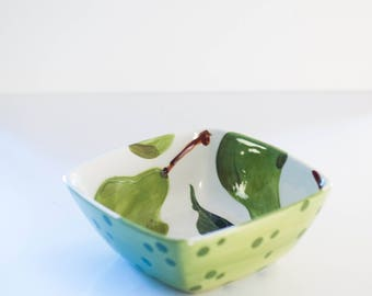 Ceramic Bowl READY to SHIP Small Serving Bowl Pear Small Square Bowl Wedding Gift for Couple Bridal Shower Gift for Bride Hostess Gift  P