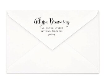 Cursive Return Address Rubber Stamp