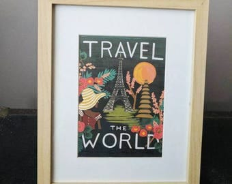 Travel the World Watercolor Framed Print