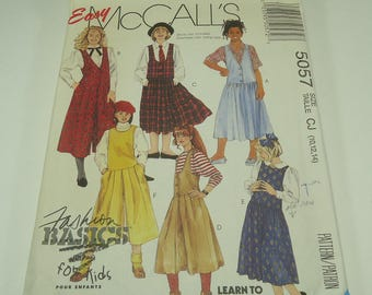 Easy McCall's Girls' Jumper Pattern  Size 10, 12, 14
