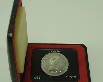 1972 Royal Canadian Mint Voyager Commemorative Silver Dollar Uncirculated Coin In Leatherette Box