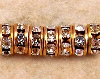 Gold Rhinestone Rondelle 6mm Crystal 12 Pc. C307