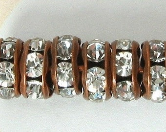 Rhinestone Rondelle Spacer Copper Crystal 6mm 6 Pc. C20