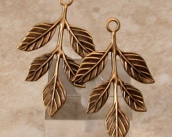 Leaf Sprig Pendant, Brass Ox, 2 Pc. AB148