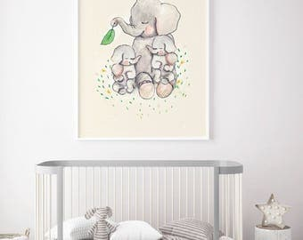 Twins Mothers love, Nursery Wall Art, kids room decor, nursery nimals prints, nursery elephants, baby shower girl, nursery twins