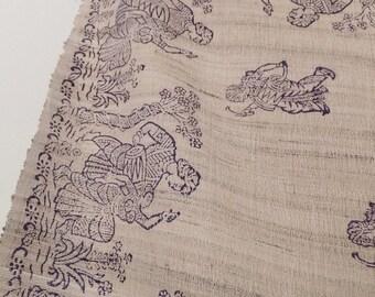 Raw Woven Silk Printed Indian Textile in Gray & Blue Grey Decor Boho Tablecloth Boho Bedspread Boho Wall Cloth Vintage 1970's Block Printed