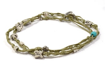 Khaki Double Wrap Ties and Charms Anklet for Good Luck and Protection