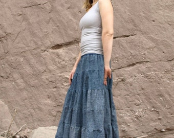 Hemp and Organic Cotton Denim Long Peasant Skirt - Made to Order in the USA