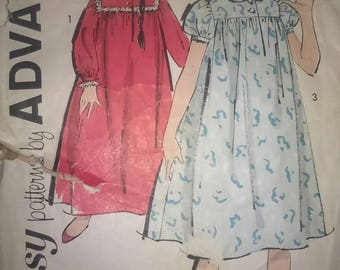 Vintage Sewing Pattern Advance 2707 Girls Nightgown