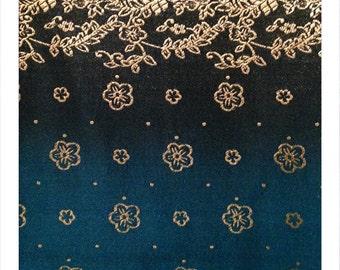 Teal Plum - Set of 2 Synthetic Saree Brocade Fabric Pieces Panels