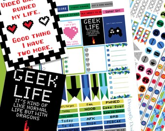 2 pages - Video Game Geek Life Printable Planner Stickers