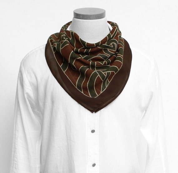Silk scarf men, Mandala scarf, Brown scarf, skull scarf, Handpainted scarf, Luxury scarf, Chiffon, Hand made, Square scarf, Tribal scarf