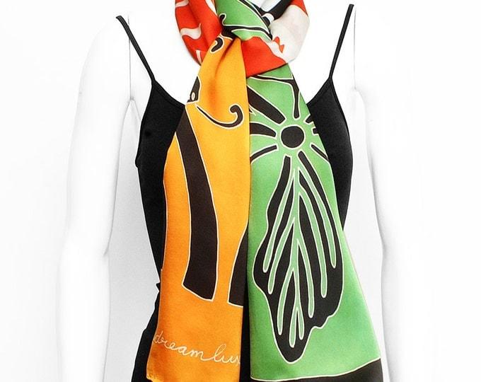 Handpainted silk scarf, Japanese scarf, flower scarf, Animal scarf, Hand made, beautiful scarf, Luxury silk scarf, Fashion scarf, Cute scarf