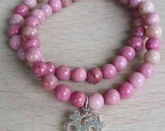 Double stackable Rhodochrosite mala bracelet with sterling silver heart