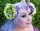 Unicorn Crown, Lavender Filigree Unicorn Crown, Unicorn Headpiece, Unicorn Horn, Horned Headpiece