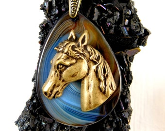 Antiqued Brass Horse Head and Agate Pendant