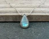 Short Labradorite Necklace in Sterling Silver - Dainty Necklace Labradorite Pendant Short Layer Necklace - Blue Yellow Labradorite Stone