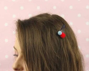 Mini Pom Pom Hair Clip