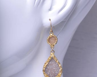 Pale Purple Grey Teardrop Druzy Statement Dangle Earrings in Gold