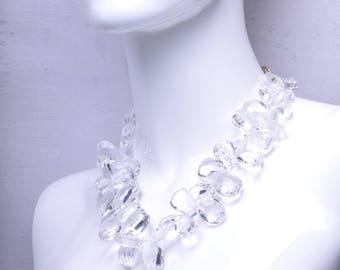 Crystal Quartz Faceted Nugget Statement Necklace