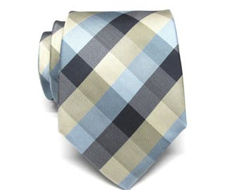 Mens Ties. Necktie Navy Blue Light Blue Yellow Checkers Mens Tie With Matching Pocket Square Option