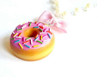 Donut Necklace, Large Doughnut Pendant Necklace, Kawaii Necklace, Polymer Clay Miniature Food Jewelry
