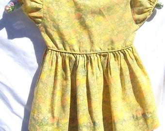 Vintage 70s Floral Baby Summer Sun Dress Cotton Blend