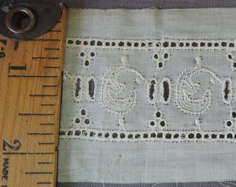 Antique Victorian Lace Trim, 14 Yards, Embroidered Eyelet Trim, 1800s