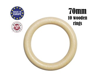 10 Natural Wooden Rings Large 70mm no holes. organic wood teething rings. baby safe teething wood. bunny ears diy teething toy #120030