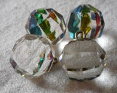 Set of 4 VINTAGE Swarovski Faceted Round Ball with Iridescent Clear Crystal Glass BUTTONS