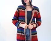 Estelle, 70s Rainbow Stripe Cardigan M, Rainbow Hooded Sweater, Striped Sweater with Hood, Hippie Boho Cardigan, Rainbow Long Sweater