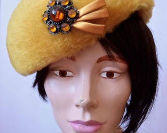 Amber | Vintage 1960s Mustard Faux Fur Hat with Golden Glass Bead Jewel and Satin Ribbon Lace Interior Vintage Topper Pillbox Hat