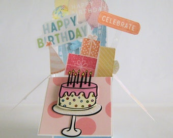 Birthday Pop up card - Card in a box - Box Card