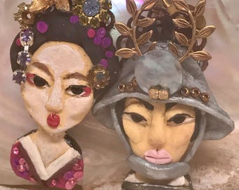 Lilygrace Geisha and Samurai Bust Earrings with Vintage Rhinestone Eyes and Mother of Pearl disc