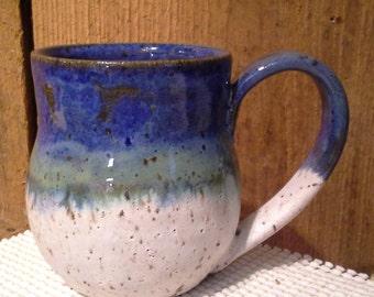 Beautiful Bellied Mug Blue Green Stone Speckled Coffee Tea Mug Handmade