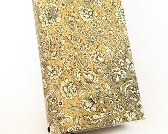 Paperback Book Cover - Reusable, Protective and Adjustable - Large Trade Size - Stylish Book Cover with White Inked Flowers on Gold