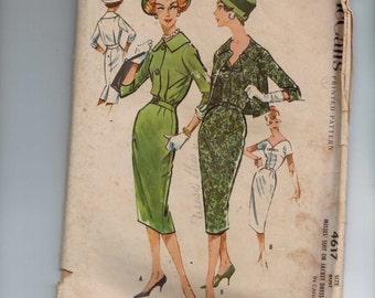 1950s Vintage Sewing Pattern McCalls 4617 Misses Suit or Jacket Dress Size 14 Bust 34 1958 50s