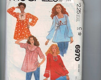 1970s Vintage Sewing Pattern McCalls 6970 Misses Yoked Peasant Style Blouse Size 14 16 Bust 36 38 1979 70s