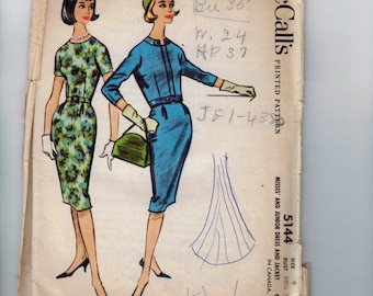 1950s Vintage Sewing Pattern McCalls 5144 Junior Misses Dress and Jacket Size 9 Breast Bust 28 1959 50s