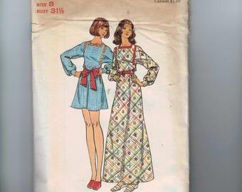 1970s Vintage Sewing Pattern Butterick 3090 Misses Peasant Hippie Boho Bohemian Mini Maxi Dress Size 8 Bust 31 32 1970s 70s